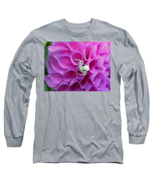 Crab Spider And Dahlia Long Sleeve T-Shirt
