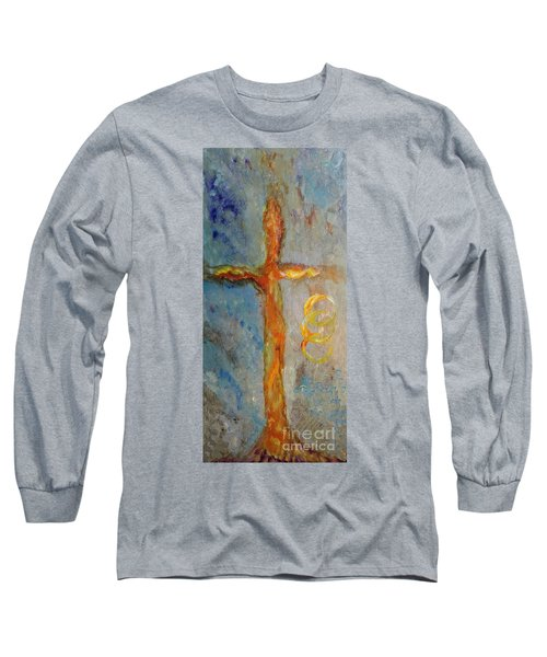 Long Sleeve T-Shirt featuring the painting Cross Of Endless Love by Ella Kaye Dickey