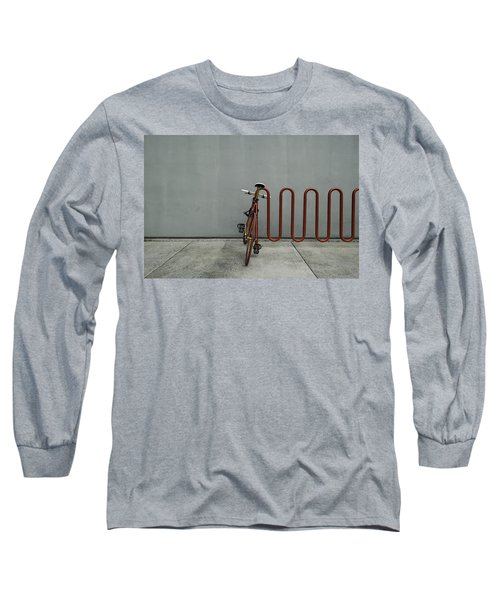 Curved Rack In Red - Urban Parking Stalls Long Sleeve T-Shirt by Steven Milner