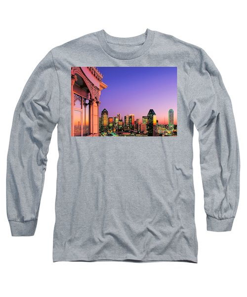 Dallas Skyline At Dusk Long Sleeve T-Shirt
