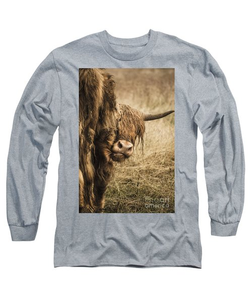 Long Sleeve T-Shirt featuring the photograph  Highland Cow Damn Fleas by Linsey Williams