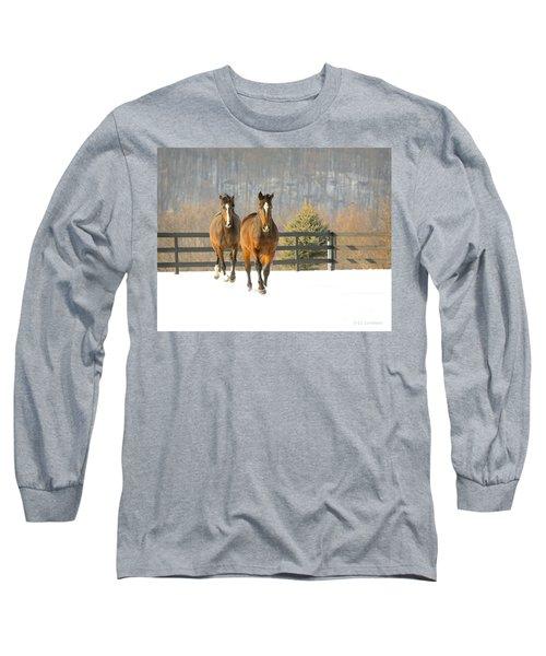 Dashing Through The Snow Long Sleeve T-Shirt by Carol Lynn Coronios