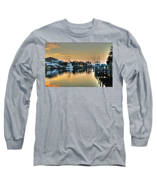 Dawn On A Orange Beach Canal Long Sleeve T-Shirt