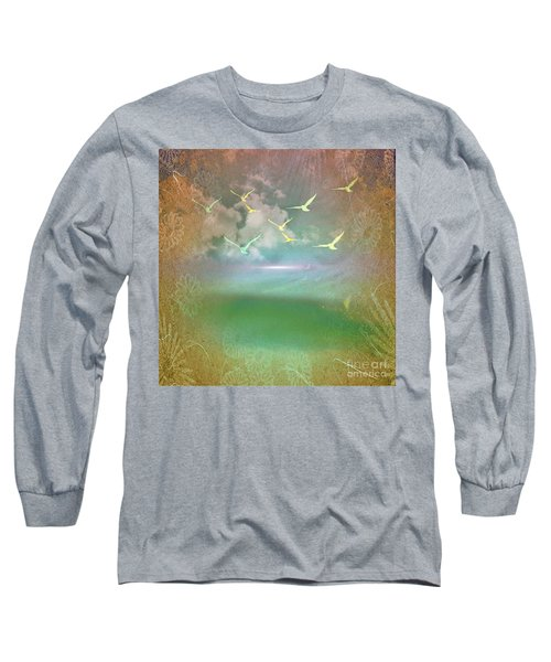 Day At The Beach Abstract Long Sleeve T-Shirt by Judy Palkimas