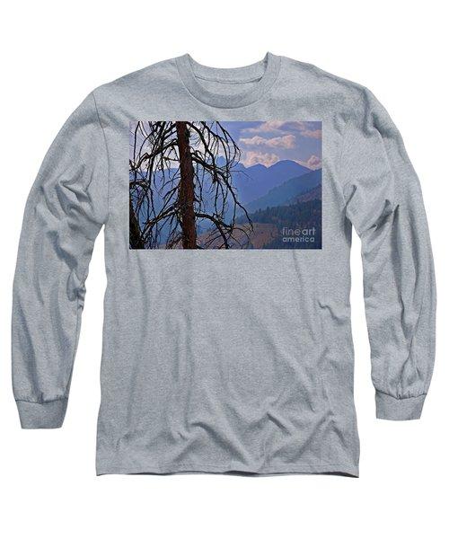Dead Tree Mountains Landscape Long Sleeve T-Shirt by Valerie Garner