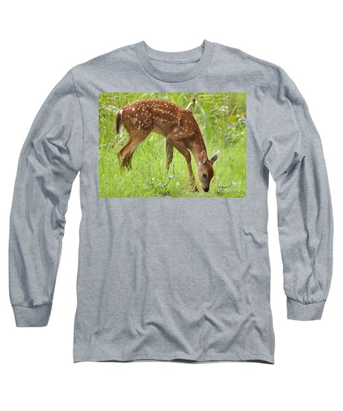 Long Sleeve T-Shirt featuring the photograph Little Fawn Blue Wildflowers by Nava Thompson