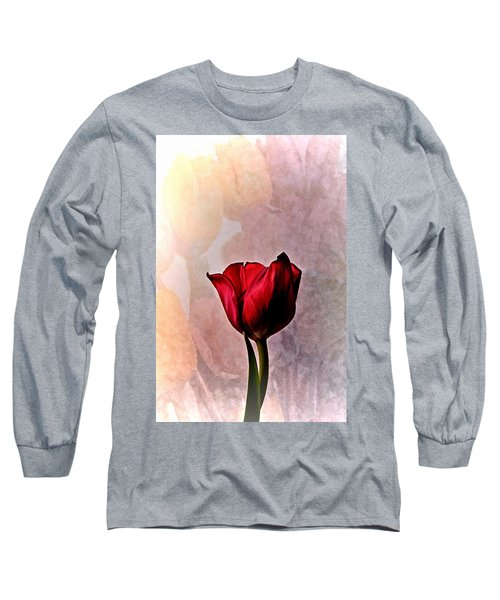 Deep Red Tulip On Pale Tulip Background Long Sleeve T-Shirt