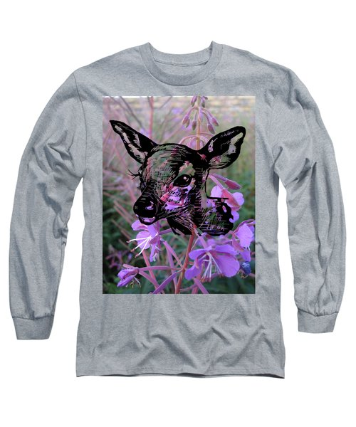 Deer On Flower Long Sleeve T-Shirt