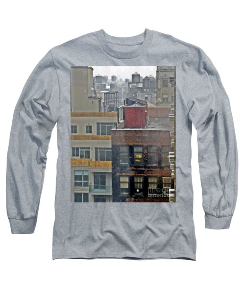 Long Sleeve T-Shirt featuring the photograph Desk Lamp Through Lit Window by Lilliana Mendez
