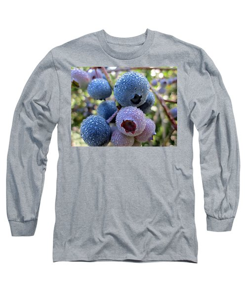 Dewy Blueberries Long Sleeve T-Shirt by MTBobbins Photography
