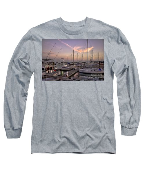 Dockside Sunset In Beaufort South Carolina Long Sleeve T-Shirt