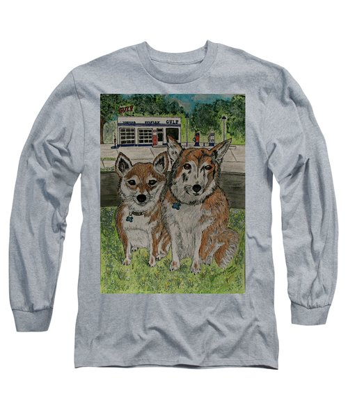 Long Sleeve T-Shirt featuring the painting Dogs In Front Of The Gulf Station by Kathy Marrs Chandler
