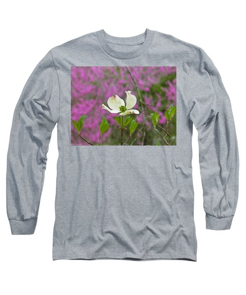 Dogwood Bloom Against A Redbud Long Sleeve T-Shirt by Nick Kirby