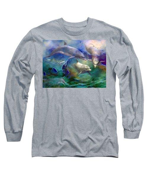Long Sleeve T-Shirt featuring the mixed media Dolphin Dream by Carol Cavalaris