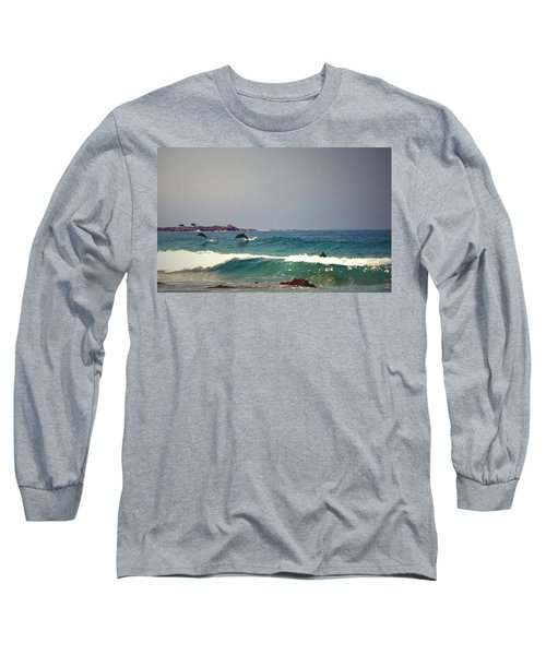 Dolphins Swimming With The Surfers At Asilomar State Beach  Long Sleeve T-Shirt
