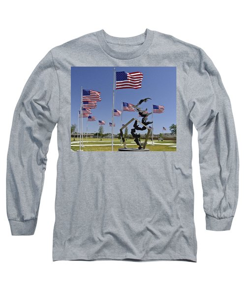 Long Sleeve T-Shirt featuring the photograph Doves And Flags by Allen Sheffield