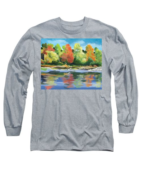 Long Sleeve T-Shirt featuring the painting Down By The River by Tim Gilliland
