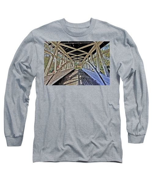 Long Sleeve T-Shirt featuring the photograph Dr. Knisely Covered Bridge by Suzanne Stout