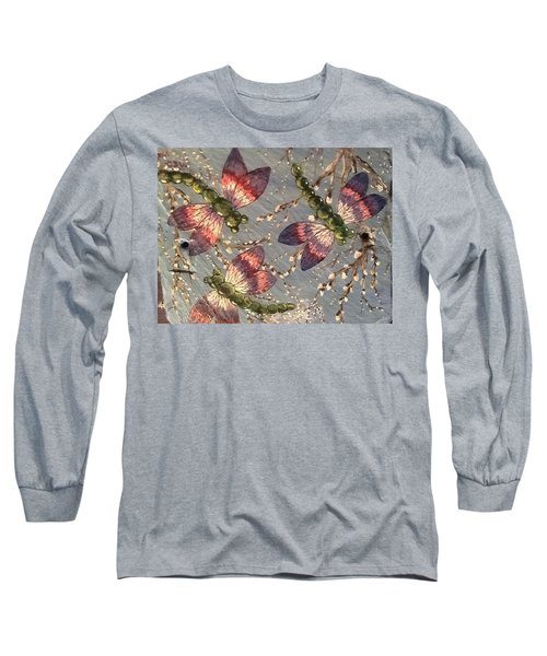 Long Sleeve T-Shirt featuring the painting Dragonflies 5 by Megan Walsh