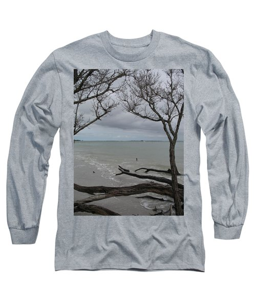 Long Sleeve T-Shirt featuring the photograph Driftwood On The Beach by Christiane Schulze Art And Photography