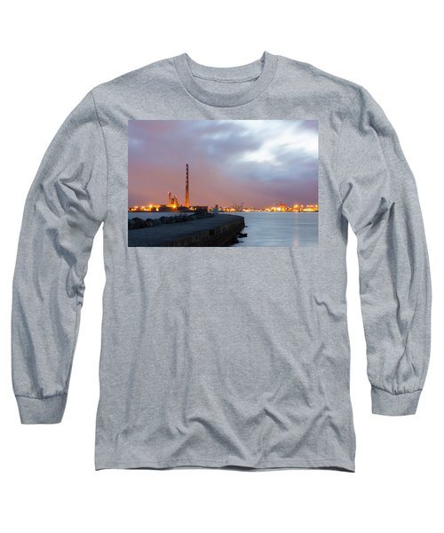 Dublin Port At Night Long Sleeve T-Shirt by Semmick Photo