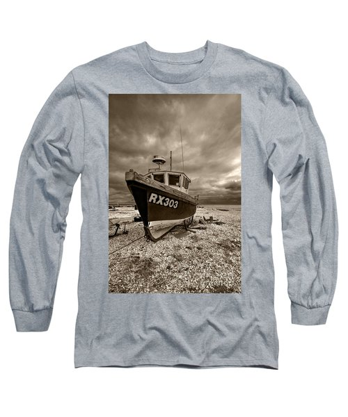 Dungeness Boat Under Stormy Skies Long Sleeve T-Shirt