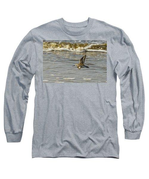 Dunlin In Flight Over Golden Surf On Golden Coast Long Sleeve T-Shirt