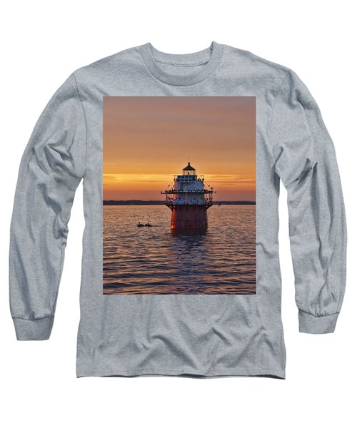 Duxbury Pier Light At Sunset Long Sleeve T-Shirt