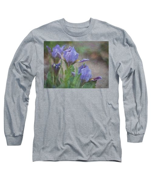 Dwarf Iris With Texture Long Sleeve T-Shirt by Patti Deters