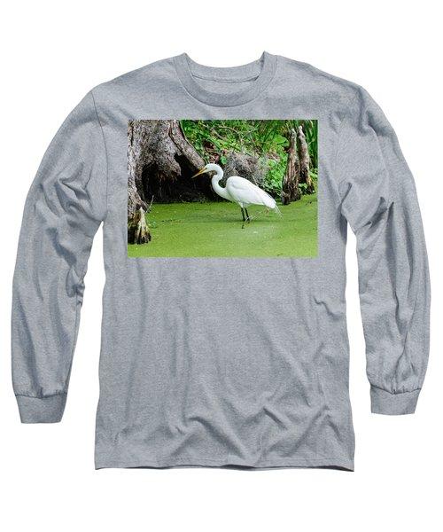 Egret Fishing Long Sleeve T-Shirt