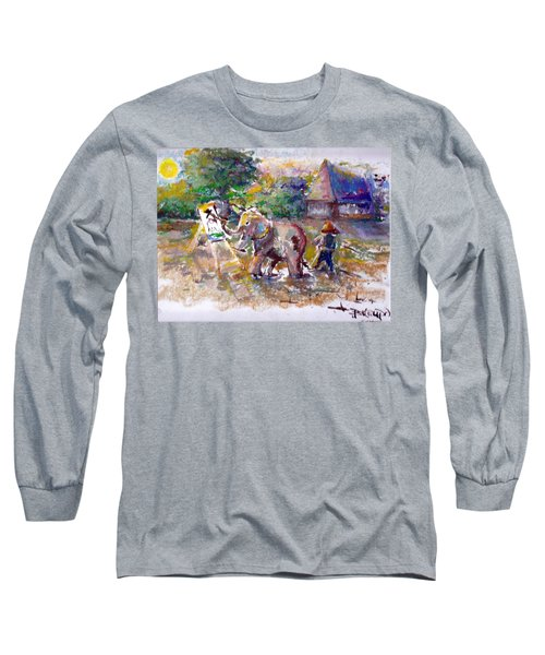 Long Sleeve T-Shirt featuring the painting Elephant Painting by Bernadette Krupa