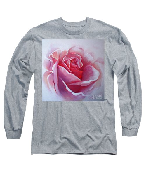Long Sleeve T-Shirt featuring the painting English Rose by Sandra Phryce-Jones