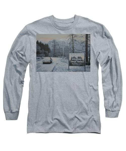 Long Sleeve T-Shirt featuring the painting Entering The Town Of Twin Peaks 5 Miles South Of The Canadian Border by Luis Ludzska