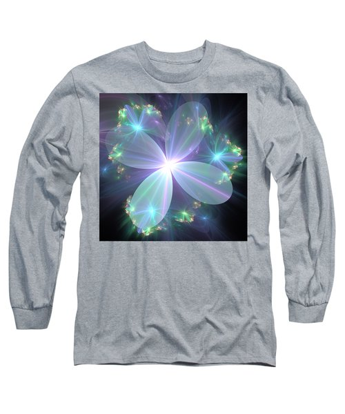 Long Sleeve T-Shirt featuring the digital art Ethereal Flower In Blue by Svetlana Nikolova