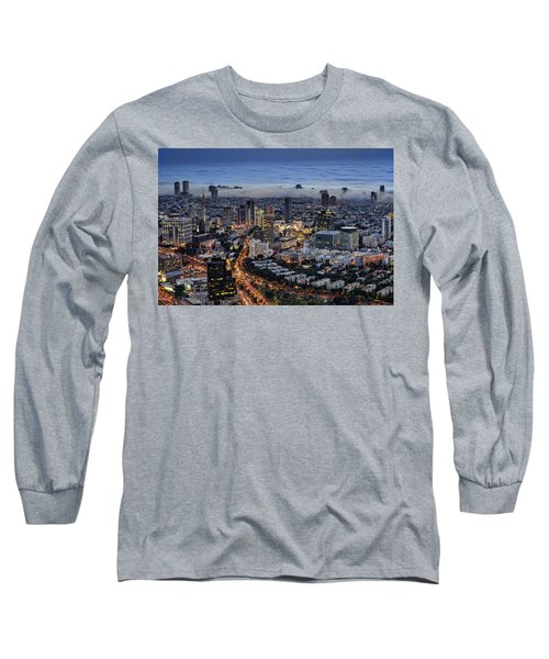 Long Sleeve T-Shirt featuring the photograph Evening City Lights by Ron Shoshani
