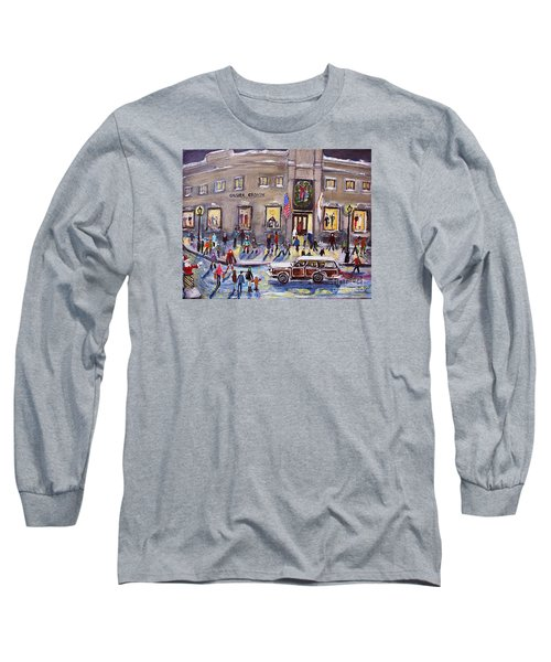 Evening Shopping At Grover Cronin Long Sleeve T-Shirt by Rita Brown