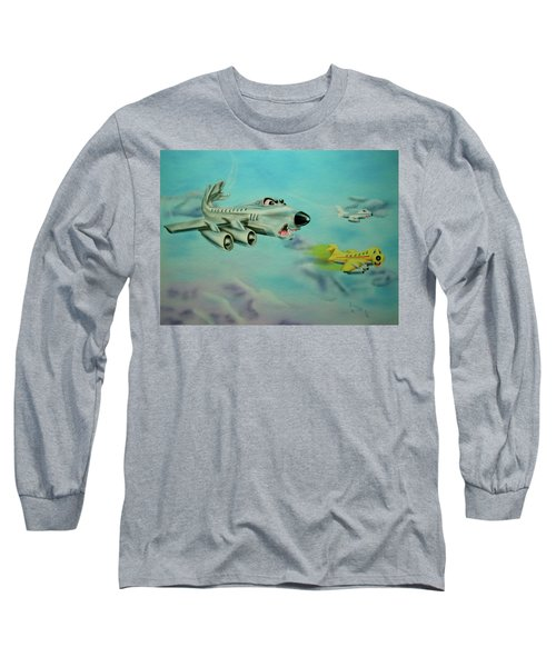 Long Sleeve T-Shirt featuring the painting Extreme Airline Mergers by Thomas J Herring