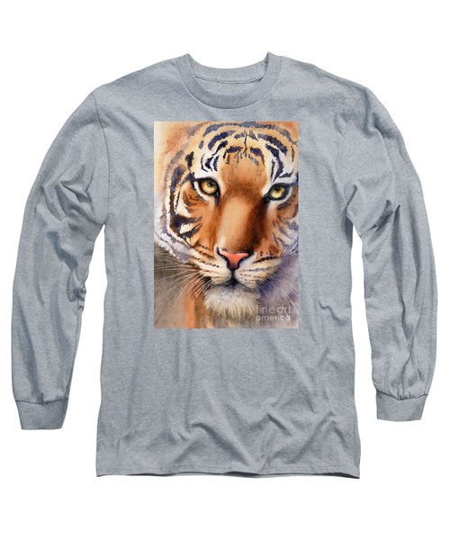 Long Sleeve T-Shirt featuring the painting Eyes Of The Tiger by Bonnie Rinier
