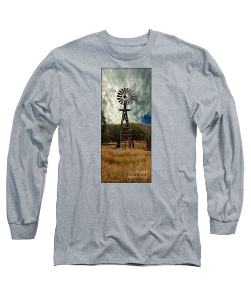 Long Sleeve T-Shirt featuring the photograph Face The Wind - Windmill Photography Art by Ella Kaye Dickey