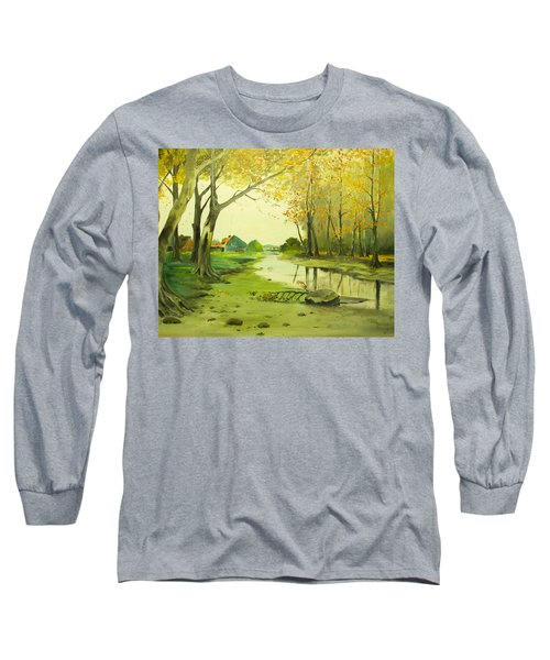 Fall By The Stream By Merlin Reynolds Long Sleeve T-Shirt