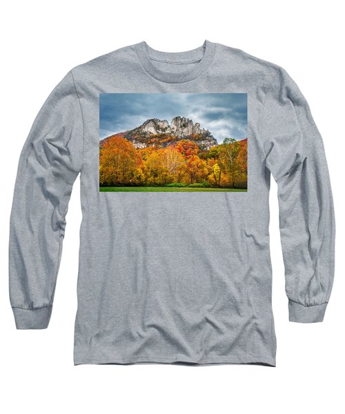 Fall Storm Seneca Rocks Long Sleeve T-Shirt by Mary Almond