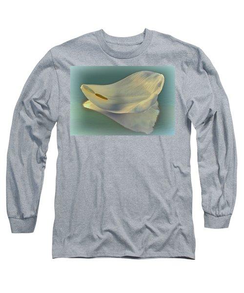 Fallen White Petal On Aqua Long Sleeve T-Shirt