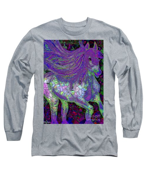 Fantasy Horse Purple Mosaic Long Sleeve T-Shirt by Saundra Myles