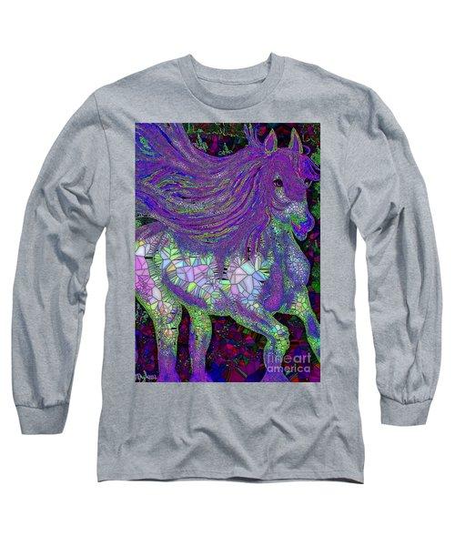 Fantasy Horse Purple Mosaic Long Sleeve T-Shirt