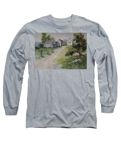 Long Sleeve T-Shirt featuring the painting Farm On Orchard Hill by Joy Nichols