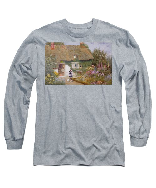 Feeding The Pigeons Long Sleeve T-Shirt by Arthur Claude Strachan