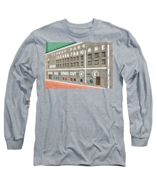 Long Sleeve T-Shirt featuring the photograph Fenway Park Scoreboard by Susan Candelario