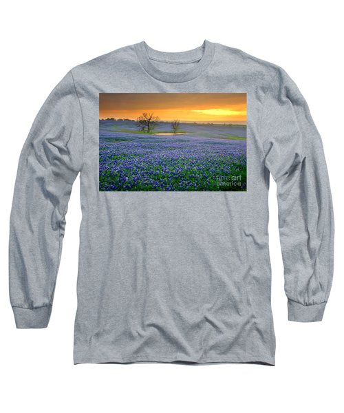 Field Of Dreams Texas Sunset - Texas Bluebonnet Wildflowers Landscape Flowers  Long Sleeve T-Shirt