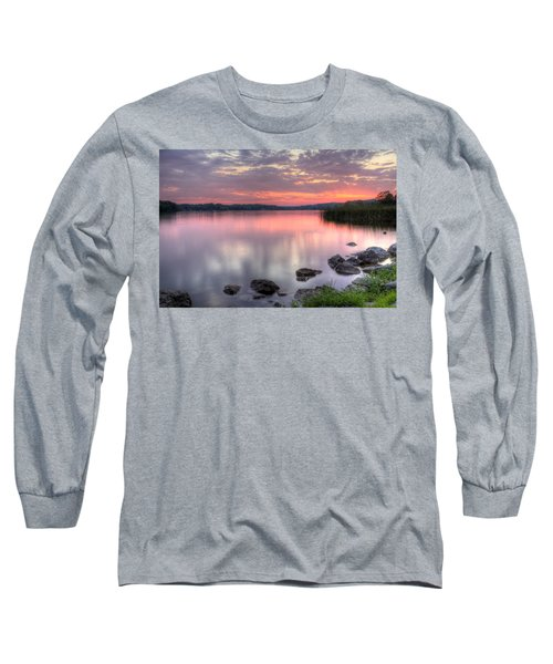 Fiery Lake Sunset Long Sleeve T-Shirt