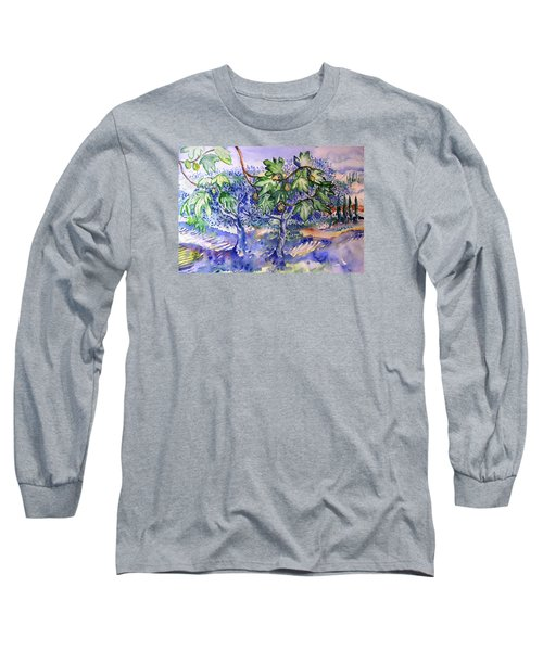Long Sleeve T-Shirt featuring the painting Fig Tree And Olive Trees In A Tuscan Garden by Trudi Doyle